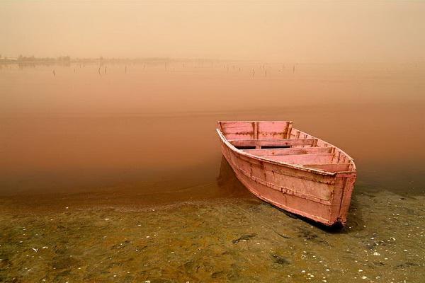 Розовое озеро в Сенегале